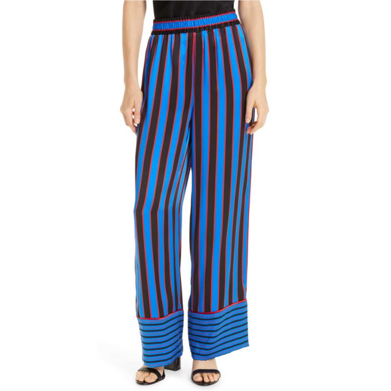 Alice + Olivia Benny Stripe Silk Pajama Pants