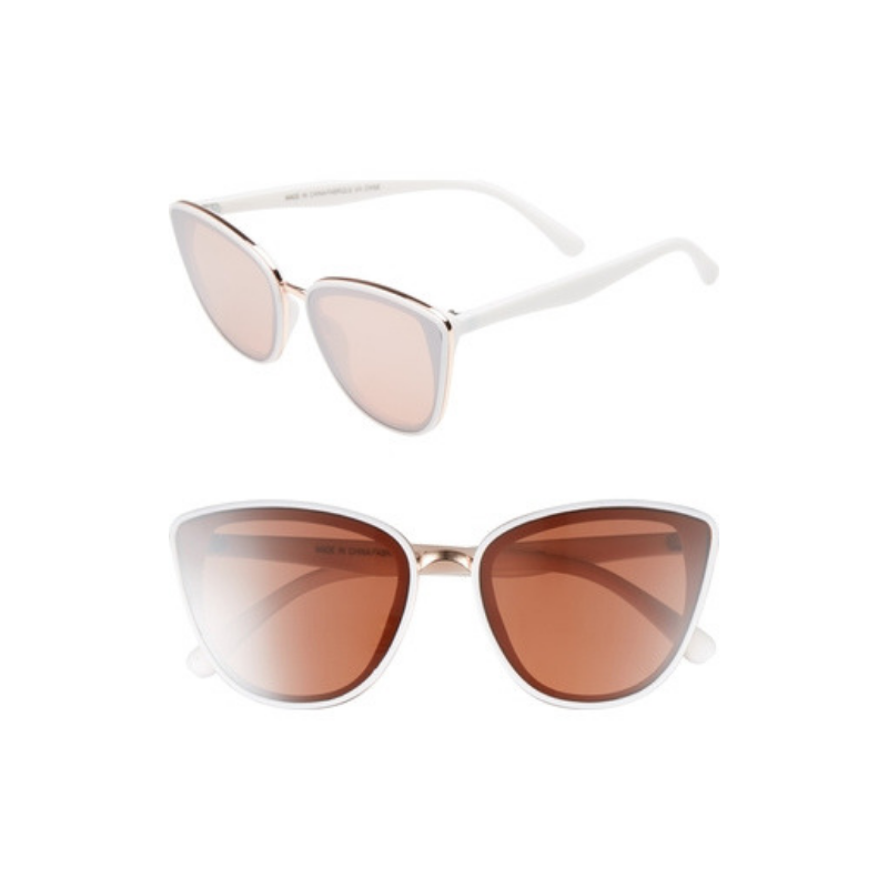 BP 59mm Perfect Cat Eye Sunglasses in White/Rose Gold