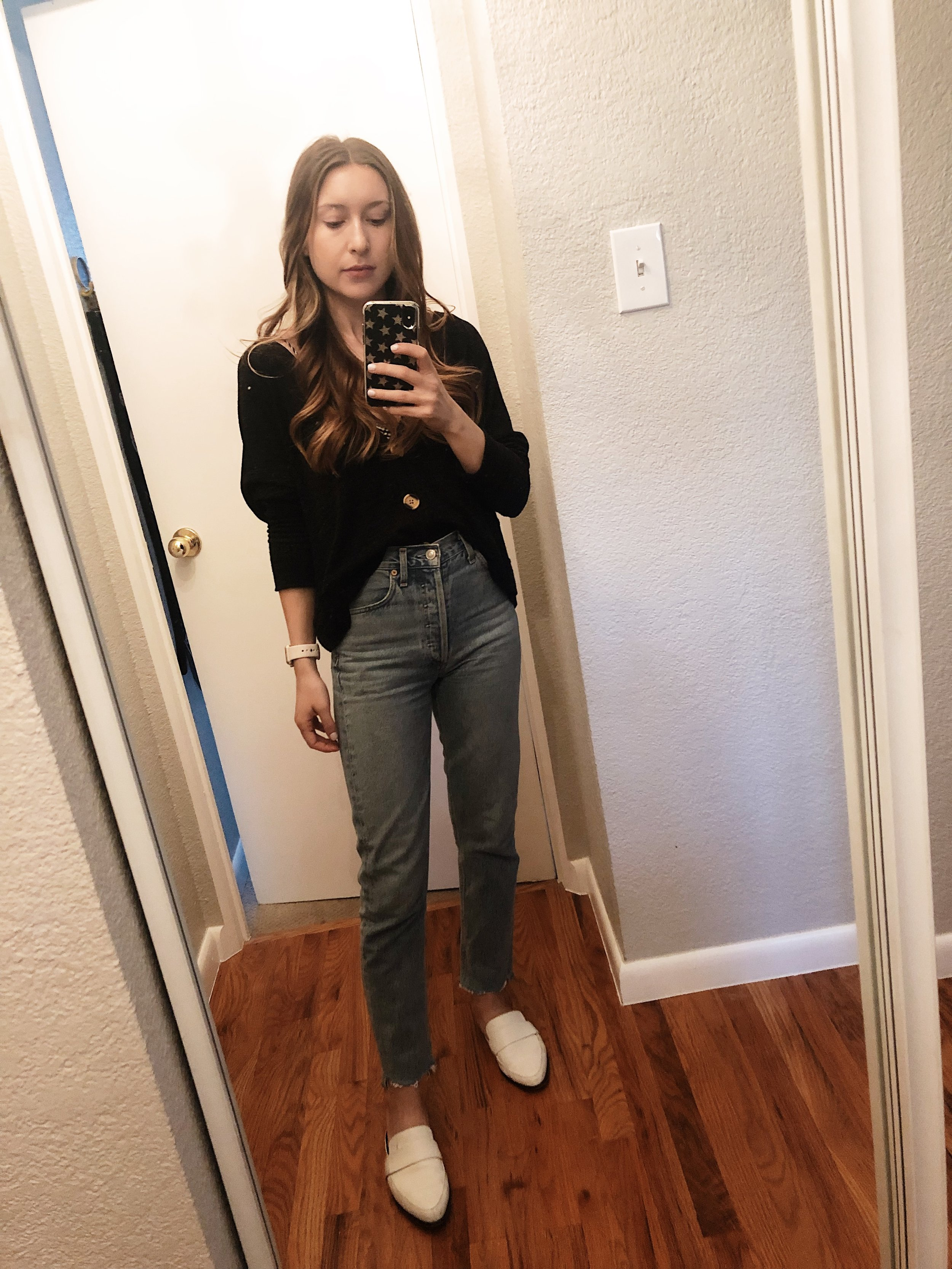 Tuesday:   AGOLDE Riley High Rise Straight Crop Jeans , same Free People Cardigan as Monday (shhh…),  Rebecca Minkoff Mika Mules