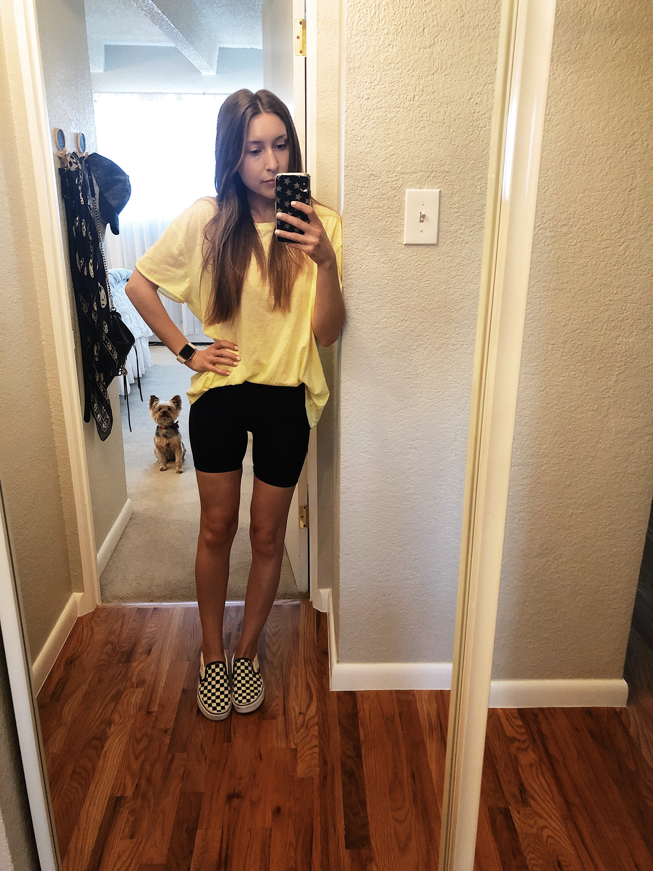 Wednesday  (aka my casual work-from-home look):  Biker Shorts ,  Free People T-Shirt  ,  Vans Classic Slip-On Sneaker in Black White Checker