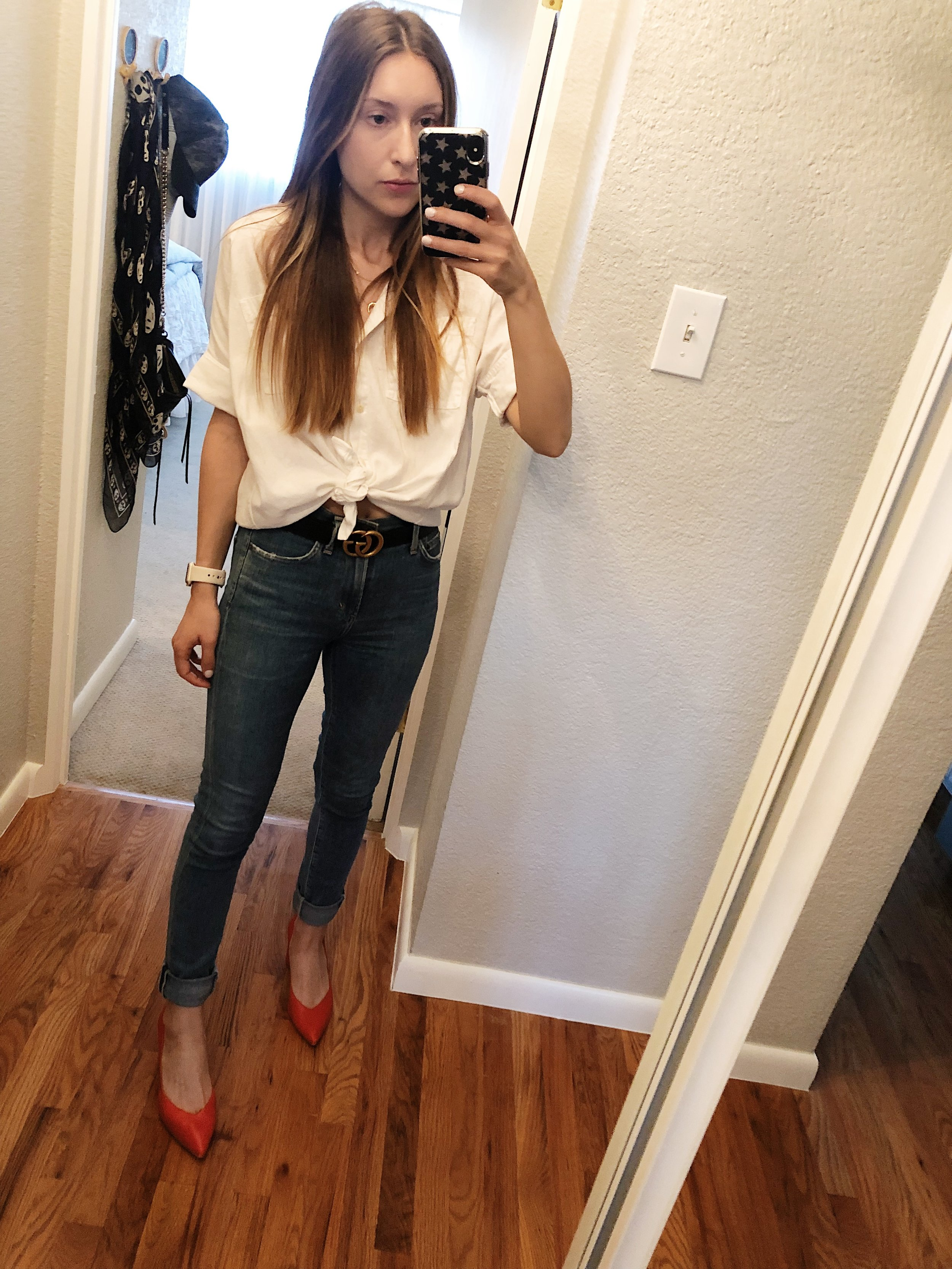 Thursday:   Citizens of Humanity Rocket Sculpt High Rise Skinny ,  Gucci GG Belt  , Madewell Button Down (similar  here ),  1. State Saffy Block Heel Pump ,  Crescent & Constellation Necklace from Wanderlust + Co.