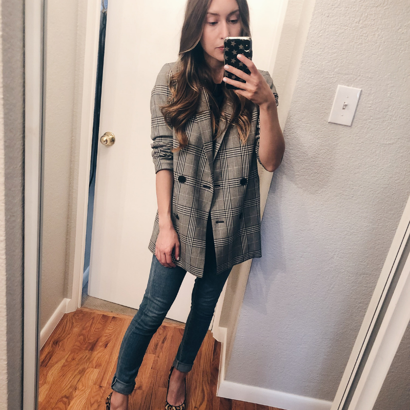 Madewell Caldwell Plaid Double Breasted Blazer