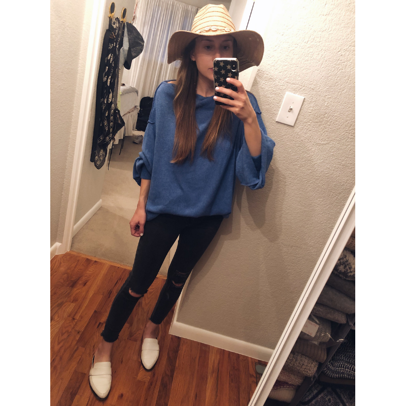 Free People Main Squeeze Hacci Sweater    + Target Straw Hat