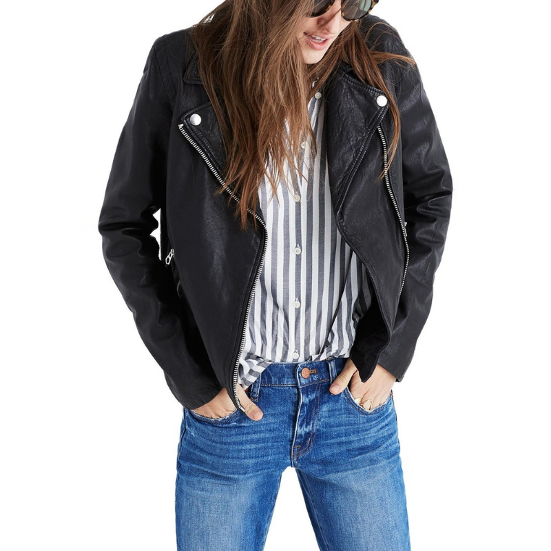 Madewell Washed Leather Moto Jacket in Black