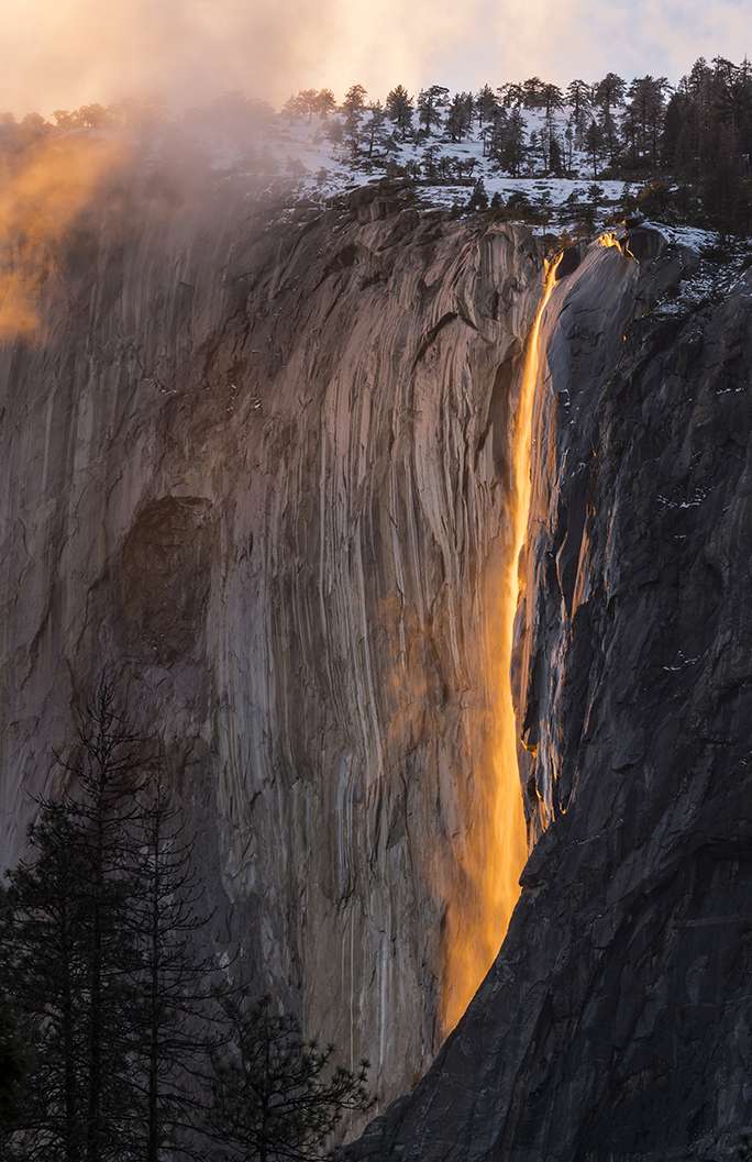 Firefall: This was the goal of my RV travels. I had tried for four years before hitting the road to experience this natural event that happens for about 10 days in Yosemite National Park. On my fifth try during my 15 months on the road we timed it perfectly. Being in the RV allowed us to extend our trip by several days as well since it was such a great experience that week. This event is when several factors align to create what looks like liquid gold down Horsetooth Falls off El Capitan: sunset light, angle of the sun (which only happens in February) and enough water on the falls to have the water flow.