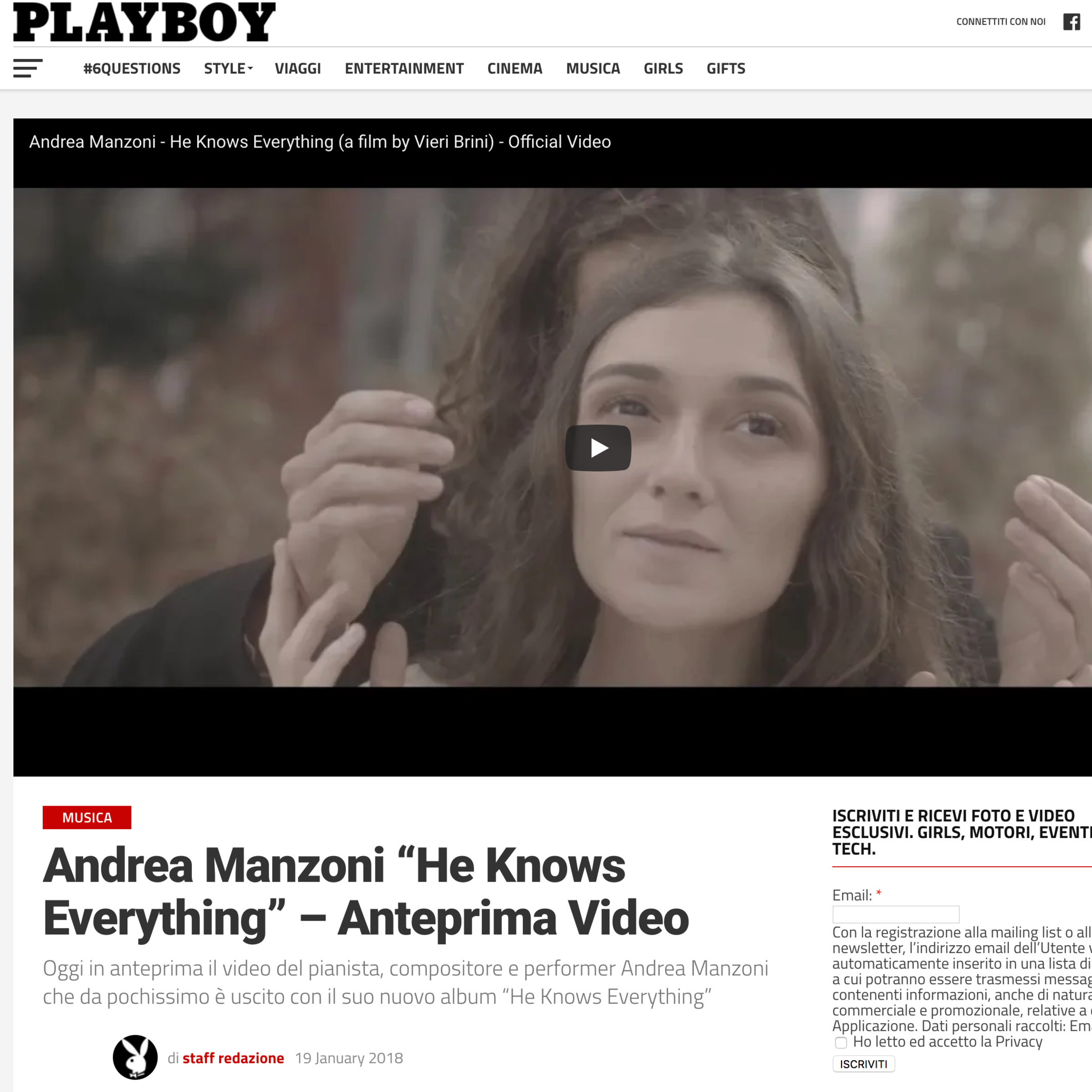 """Preview on PlayBoy Magazine - Andrea Manzoni """"He Knows Everything"""""""