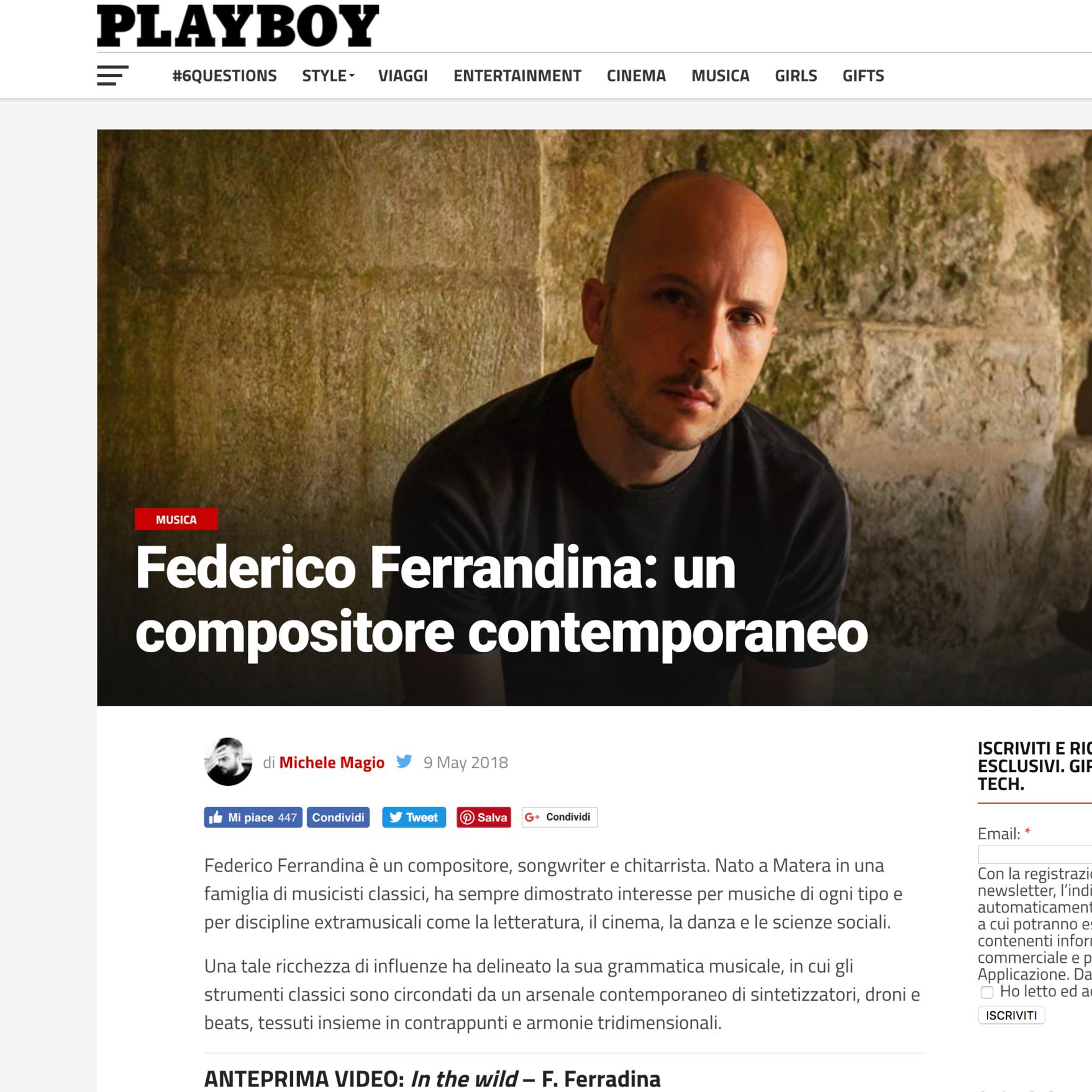Federico Ferrandina on PlayBoy:
