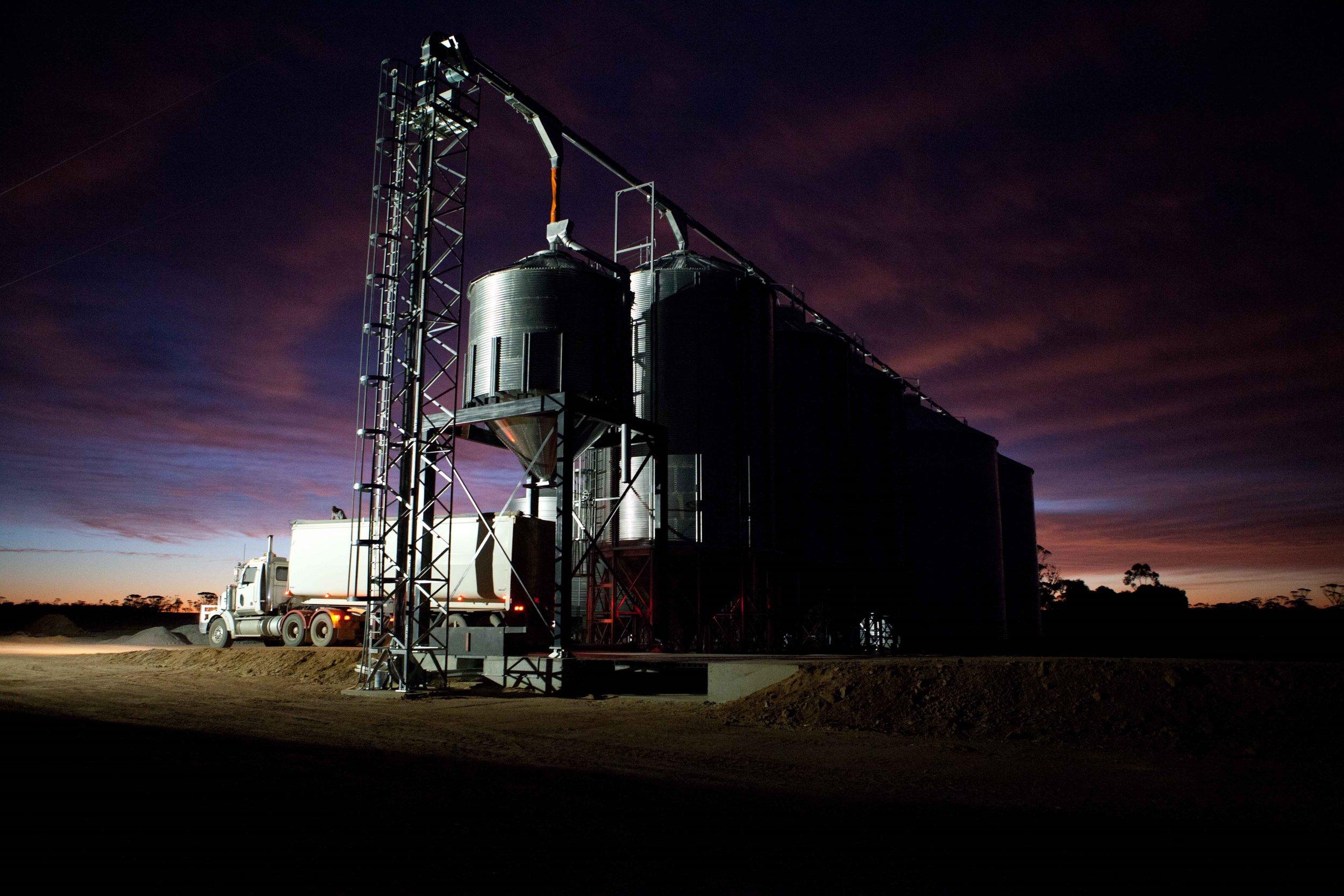 Grain loop, multiple silos and garner bin