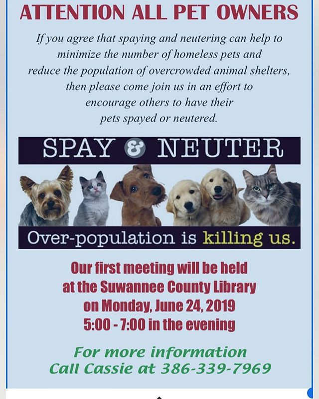 Just posting this in case there is someone in the area who can attend. This is not our county, but we are going to work with Cassie to help develop a spay neuter program in our county. We will keep everyone posted as things get started. Love ya speak soon. 💕