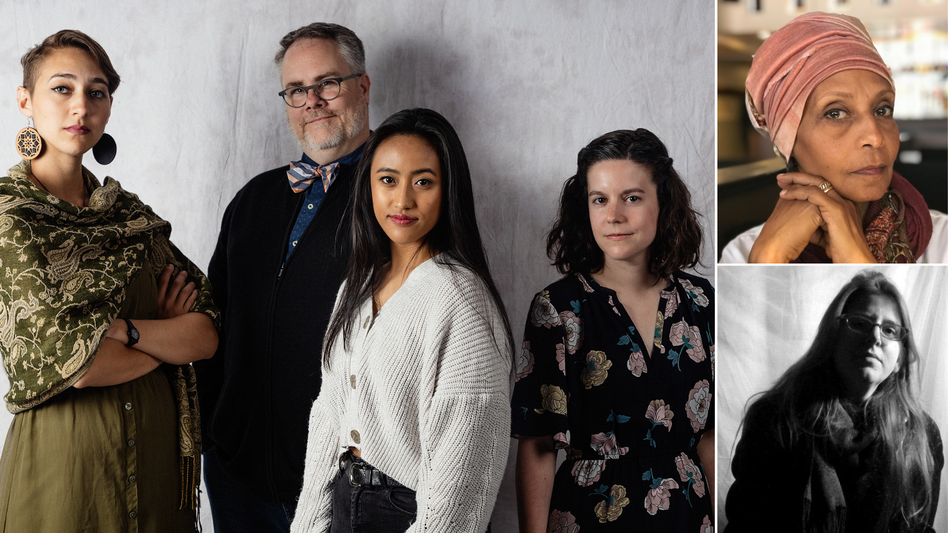 Left | Nabra Nelson, Tom Smith, Rheanna Atendido & Danielle Mohlman |  Photo by Brett Love   Top Right | Mona Sherif-Nelson | Photo by Michael Nelson  Bottom Right | Courtney Meaker | Photo by Christina Collins