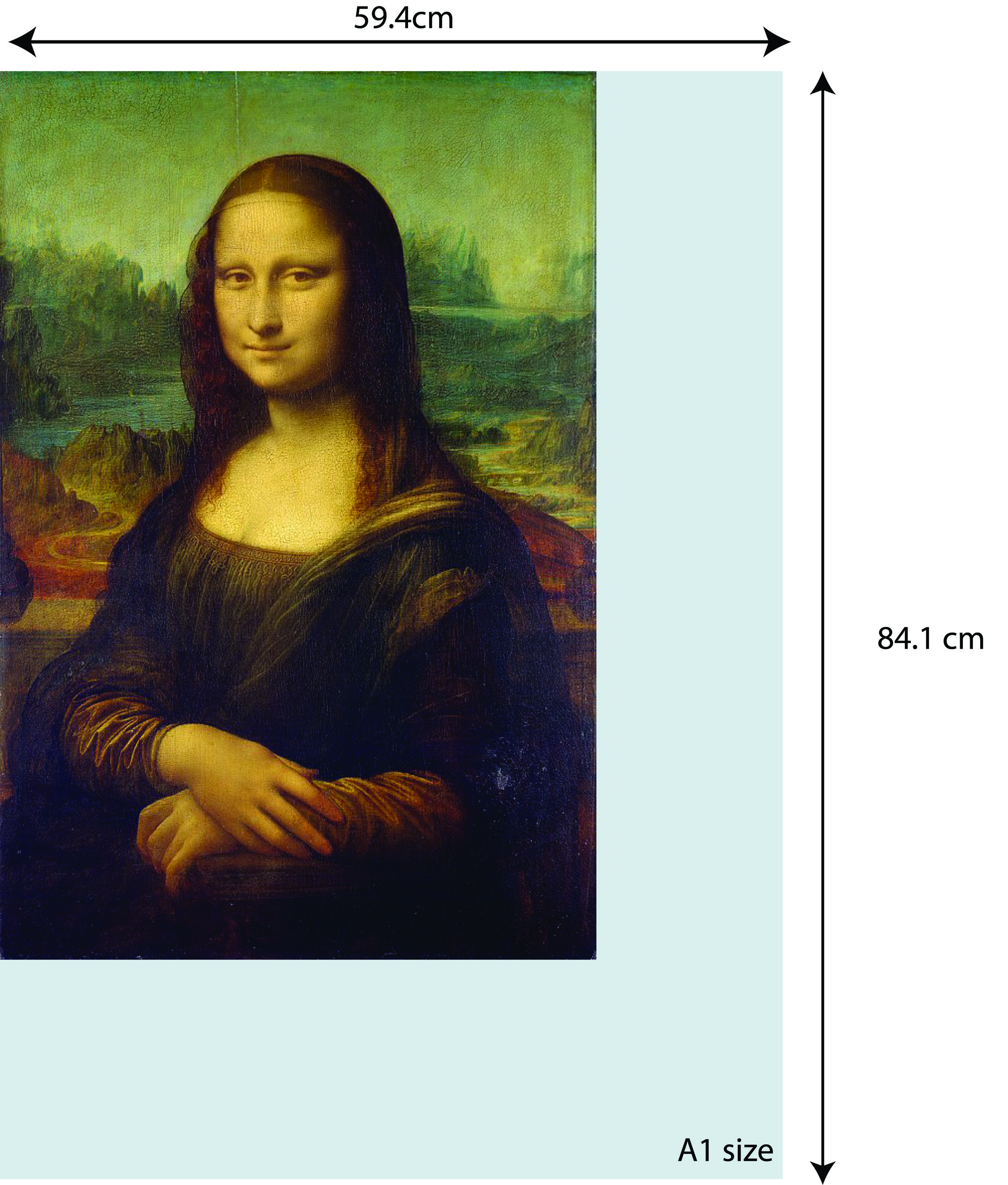 So I will need to choose an A1 size (54.9cm x 84.1cm) so that my picture is able to fit in the dimension.