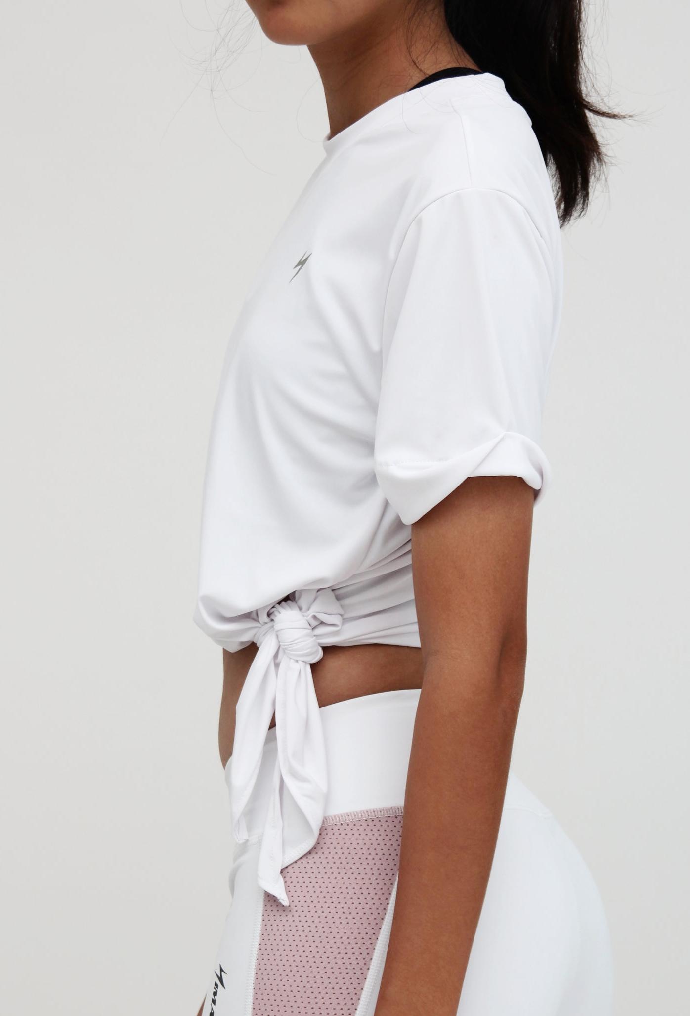 Ladies's Top - Split-side round neck crop top with folded-sleeves detail.