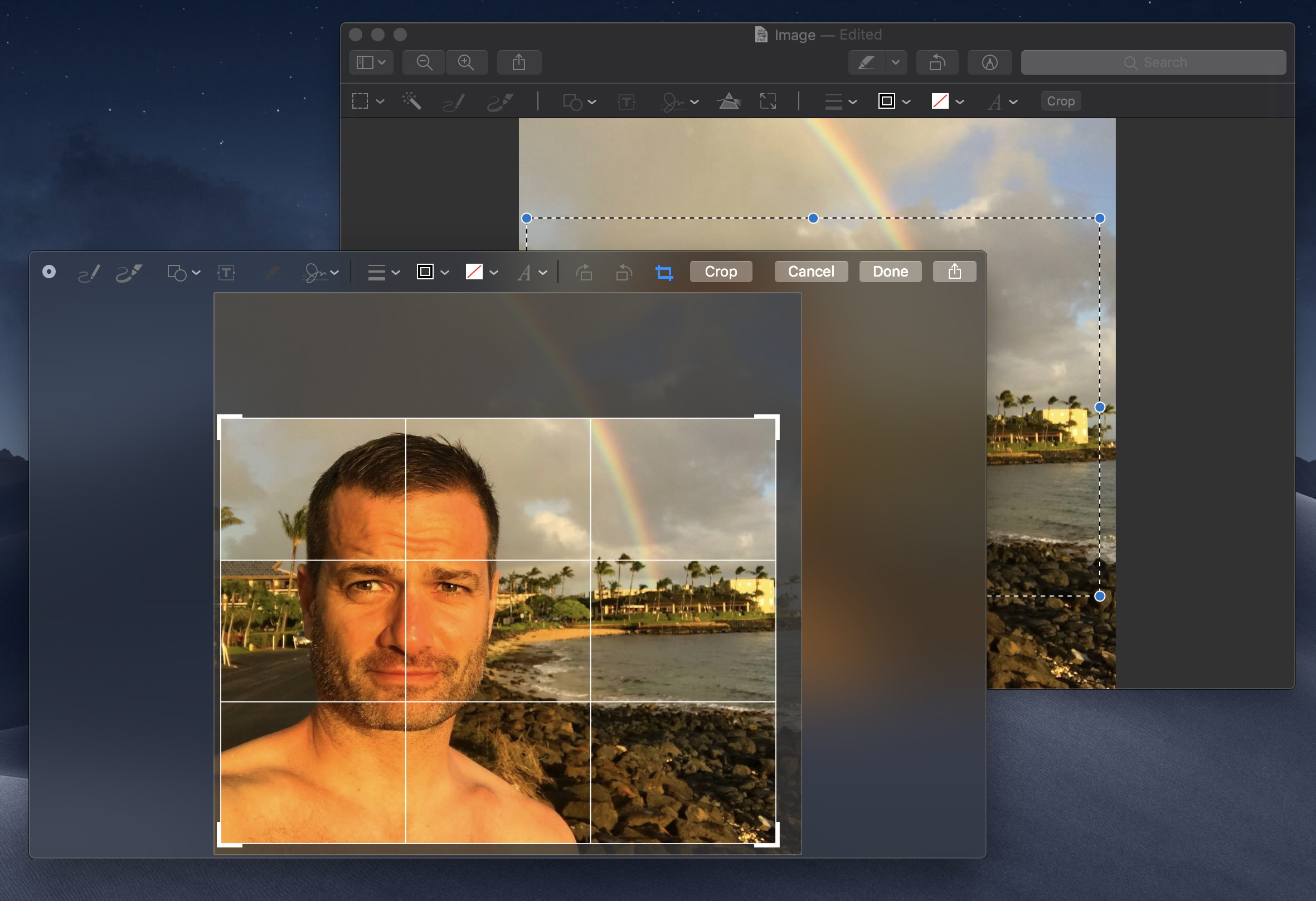 Cropping an image using Markup is oddly different in Preview and Quick Look.