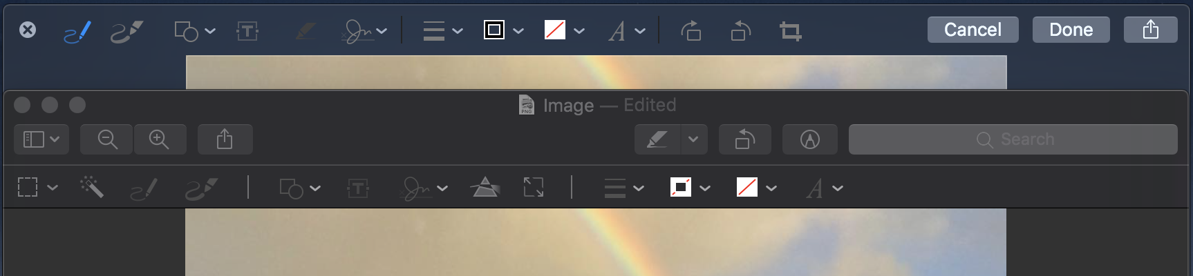 A Quick Look panel and Preview window of the same image present slightly different Markup tools.