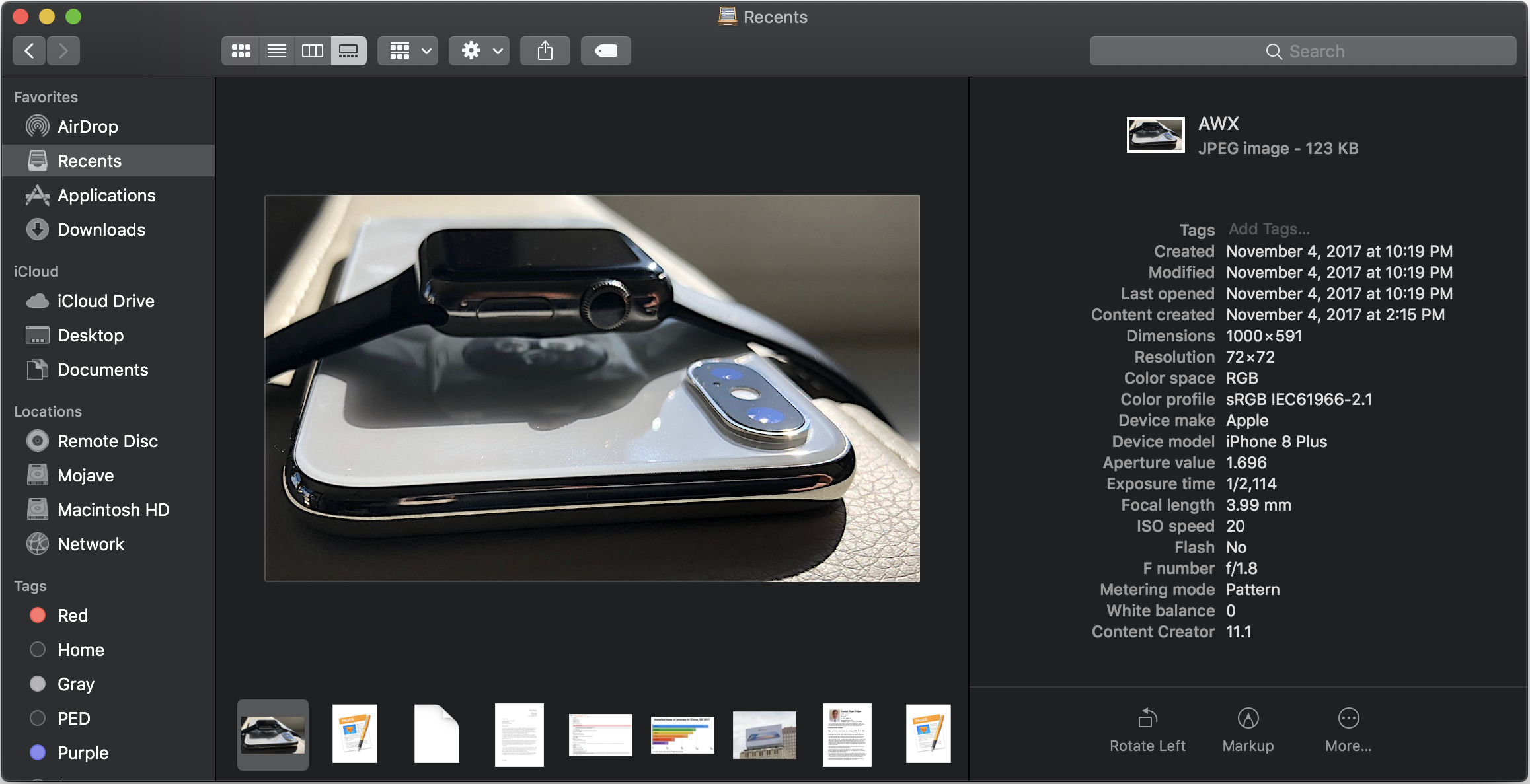 The Finder's enhanced Preview pane in Gallery view presents more technical metadata, and Quick Action buttons.