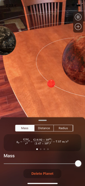 Nicholas built an ARKit app to model the solar system