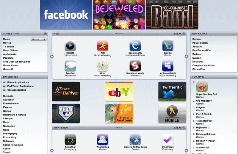 The App Store opened in the summer of 2008  with 500 apps , essentially as an extension of iTunes