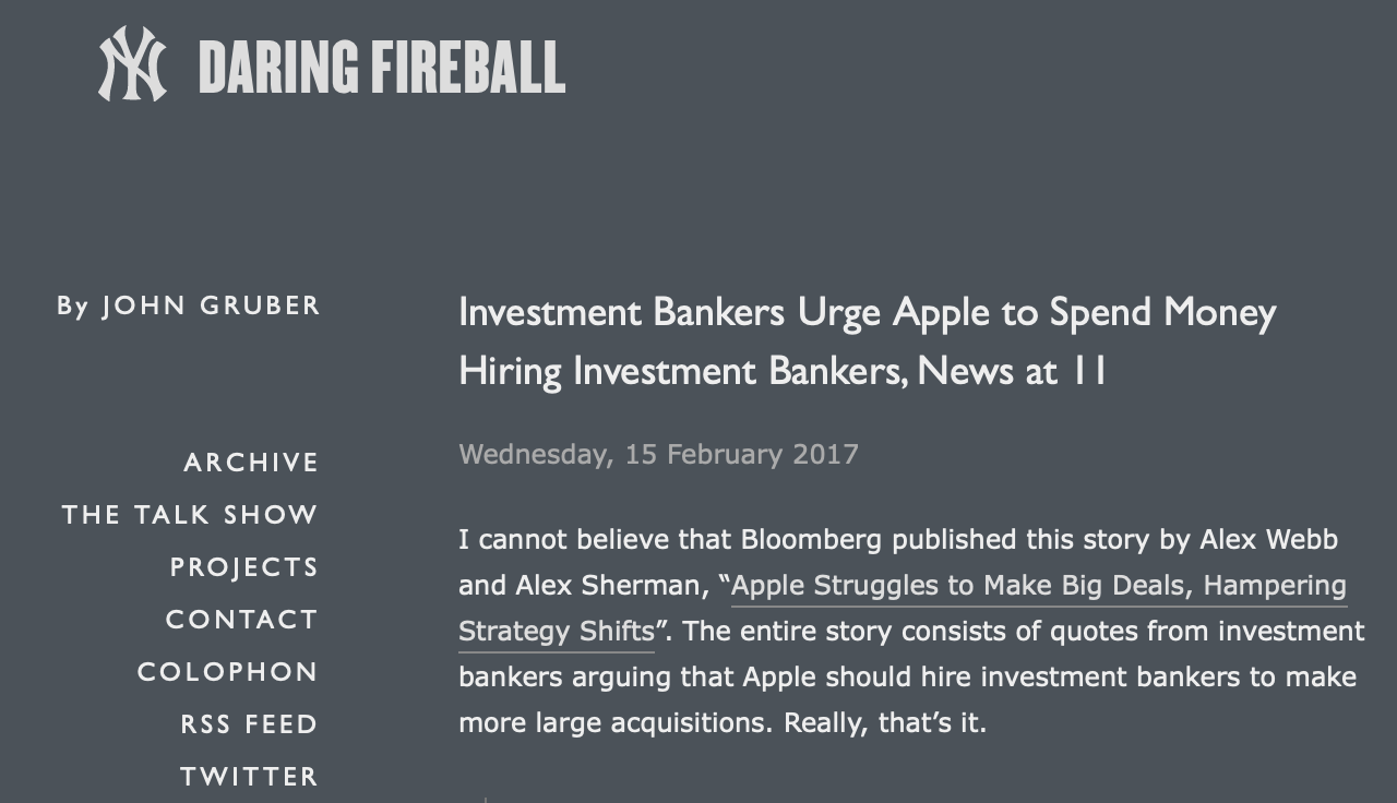 In one of its longer reports,  Daring Fireball  dismantled this  Bloomberg  story on Apple's acquisitions.