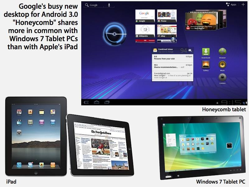 Google's Android 3.0 Honeycomb tablets were more like PC tablets than Apple's iPad.