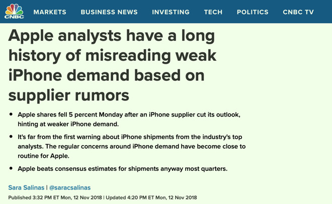 CNBC  warned about supply chain rumors, then returned to spreading them