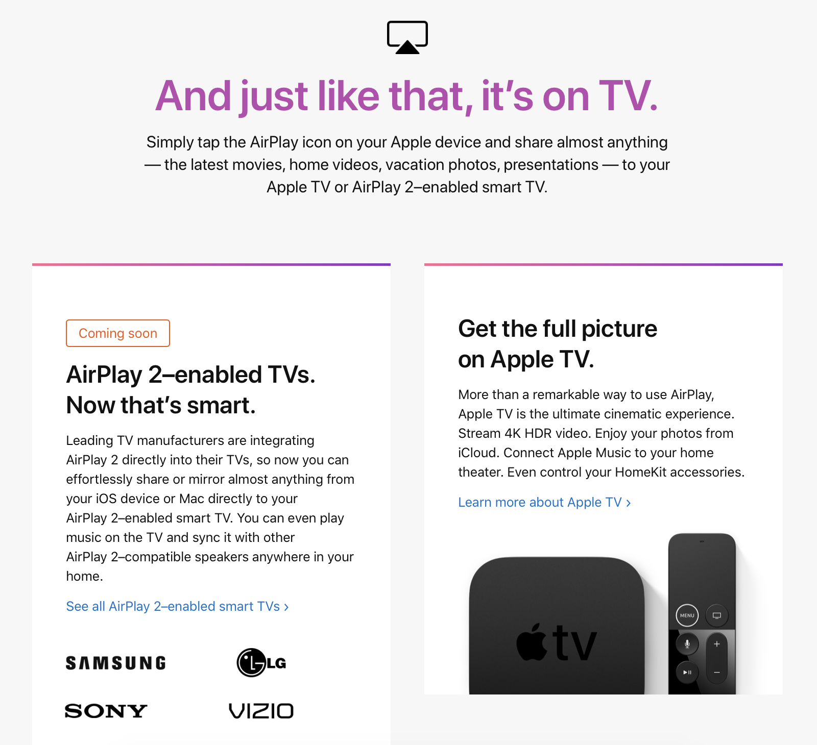 Apple is portraying AirPlay 2 televisions as booster for Apple TV, not as a sales sacrifice