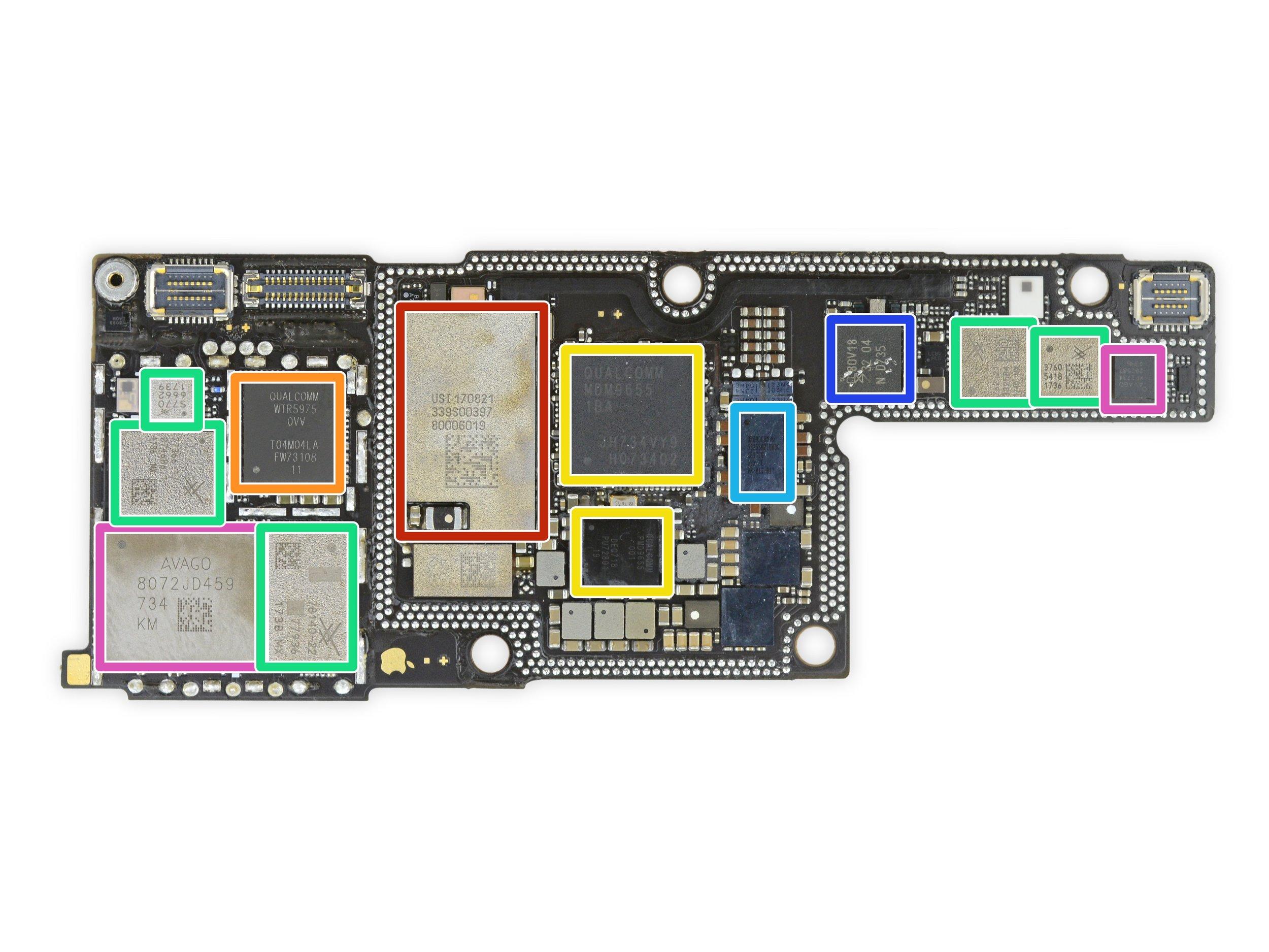 An iPhone X using Qualcomm MDM9655 Snapdragon X16 LTE modem (yellow). Source:  iFixit.com