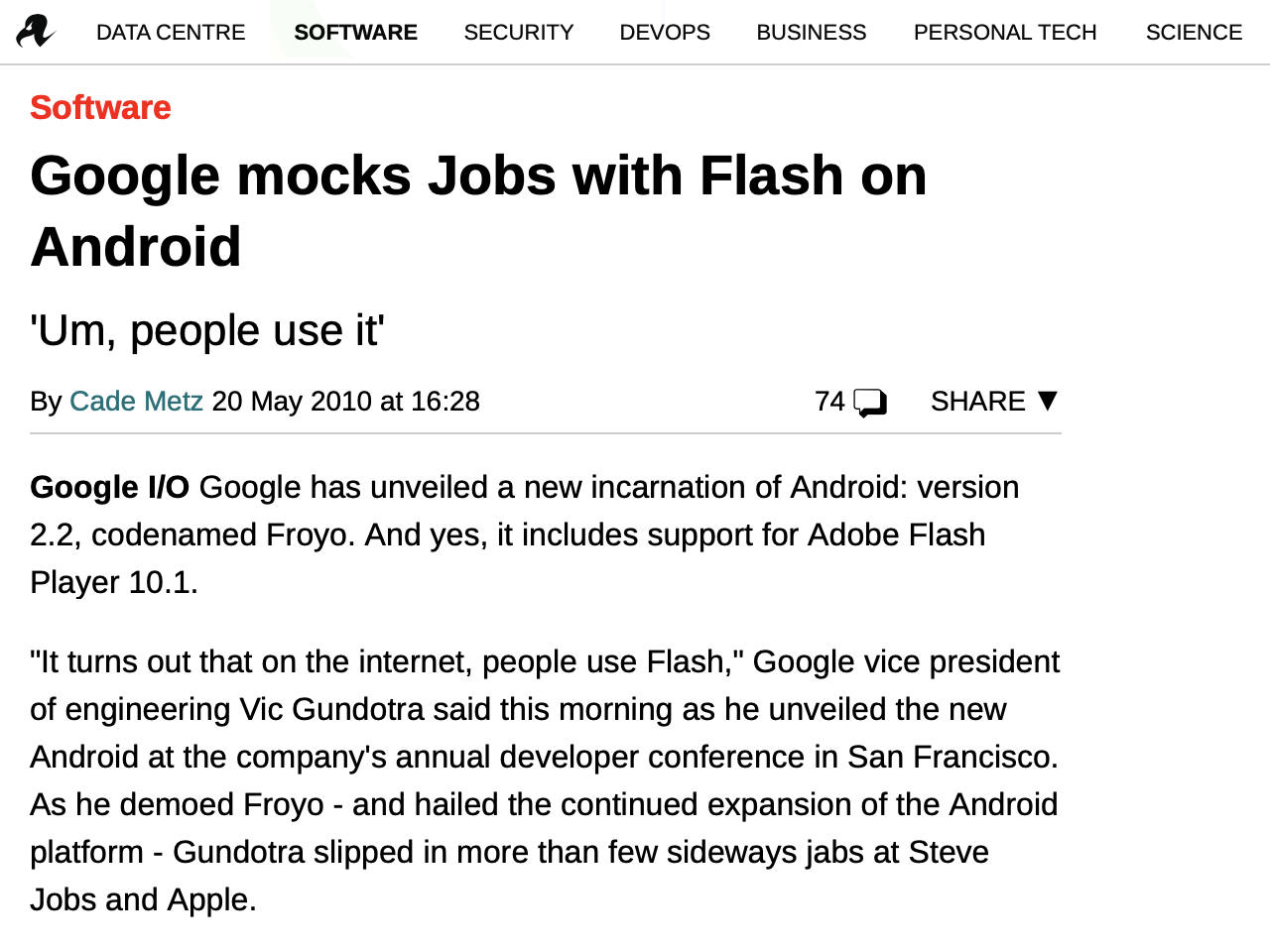 """Google's executives disparaged Apple as fascist and """"North Korea"""" for not supporing Flash on iOS, before giving up itself. The tech media overwhelmingly supported Google and offered very little intelligent critique based on facts becuase they didn't know anything"""