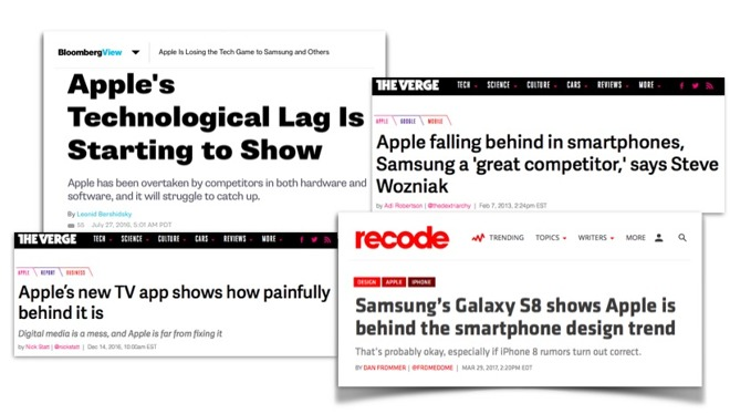 Bloomberg, Recode and the Verge have been desperately painting a picture of Apple's supposed failure for years