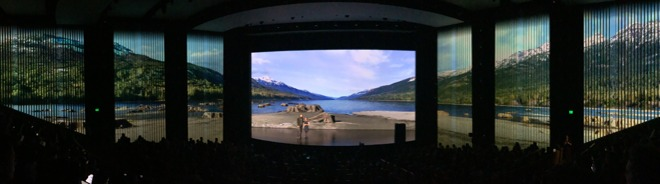 Apple turned the walls of the Steve Jobs Theater into a wrap-around lake of projected video