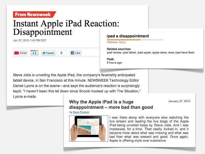 "Pundits couldn't contain their ""dissapoiment"" with iPad"
