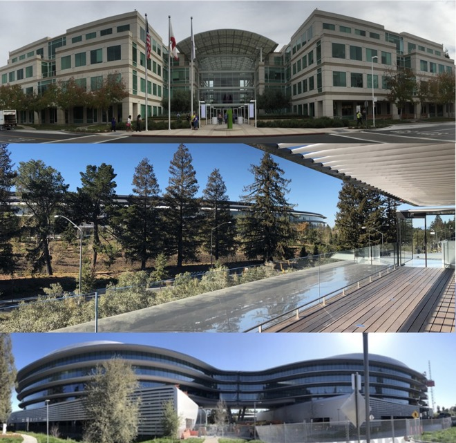 1 Infinite Loop (top) was the first of Apple's three largest California campuses