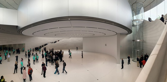 """There was nothing to handle in the """"hands on area"""" of the Steve Jobs Theater"""