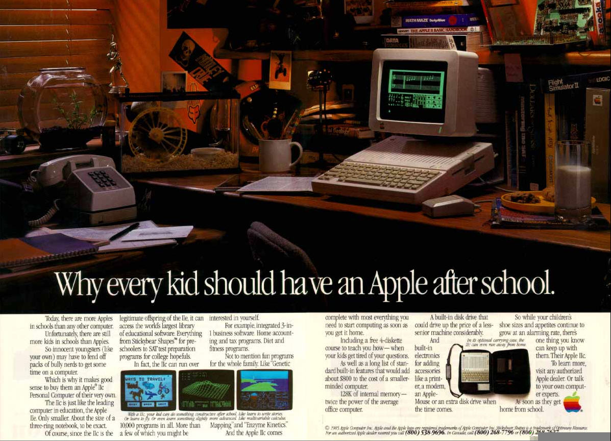 Even when marketing to kids, Apple barely mentioned video games in the 80s
