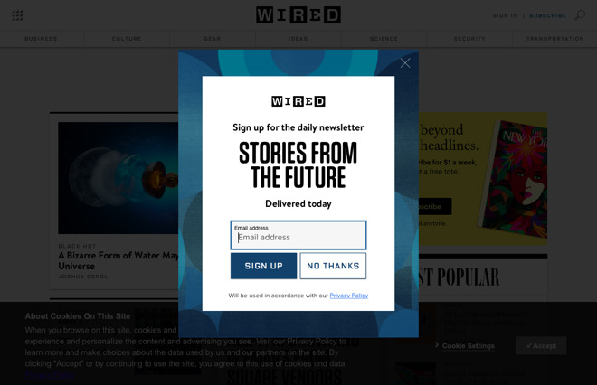 On the Web,  Wired  delivers the typical cluttered, annoying experience of free content desperately trying to optimize you as a product to sell to advertisers.