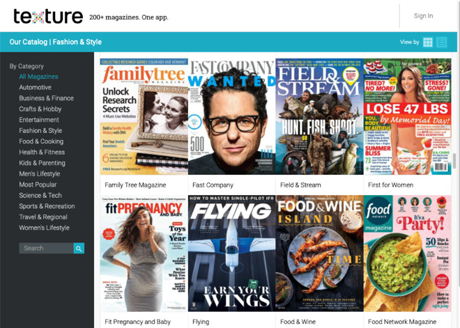 The Texture service launched as a digital copy of print magazines