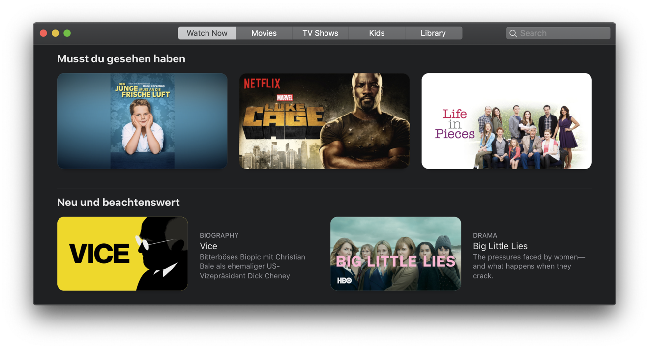 TV's Watch Now tab is designed to help you discover new content