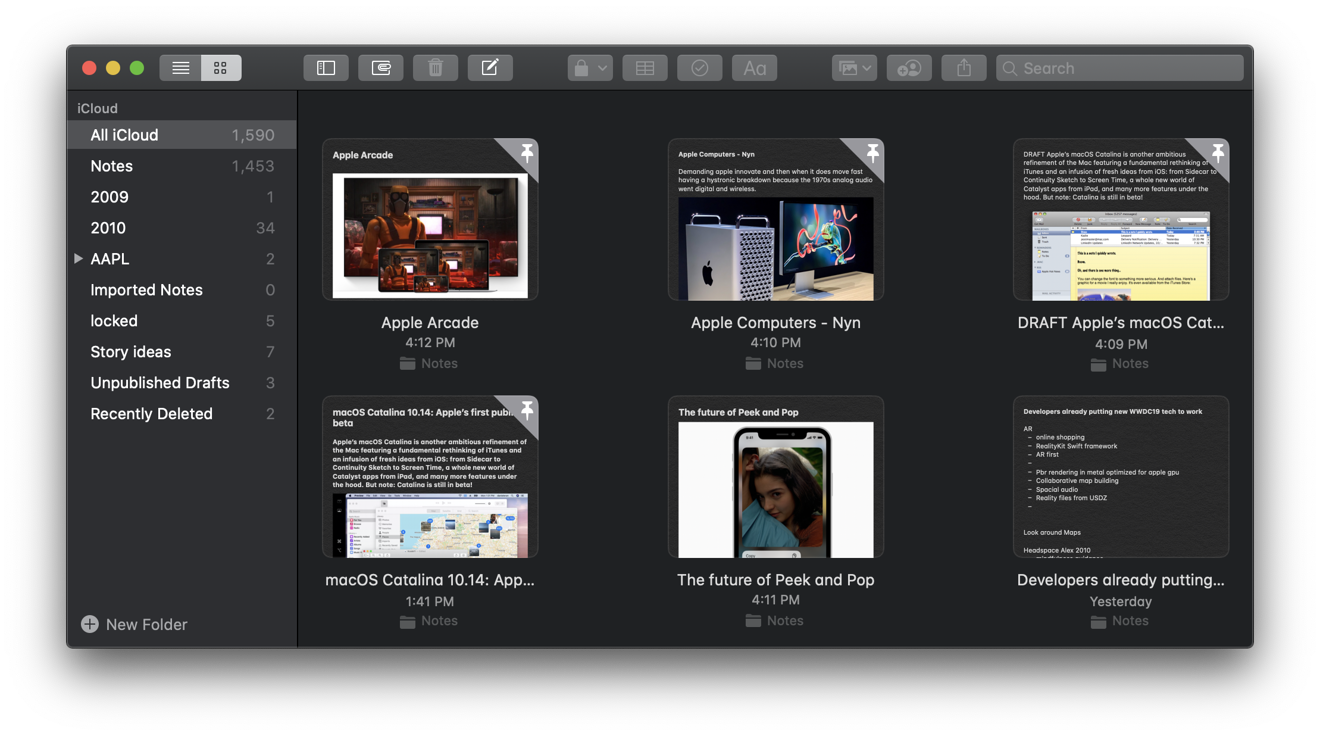 Notes' new Gallery mode makes it easy to review your ideas graphically