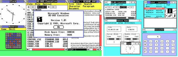 Windows 1.0, released November 20, 1985 (left) and Windows 2.0, released December 9, 1987 (right)