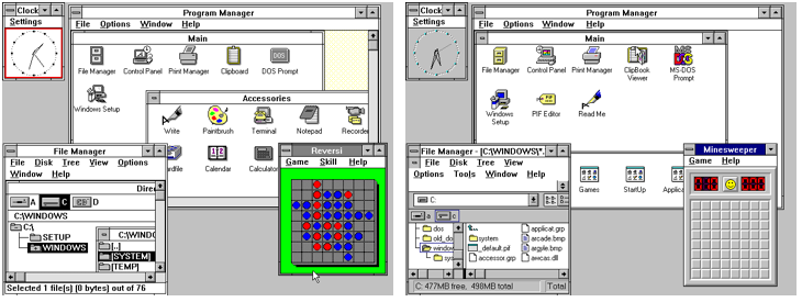 Windows 3.0, released May 22, 1990 (left) and Windows 3.11, released December 31, 1993 (right).