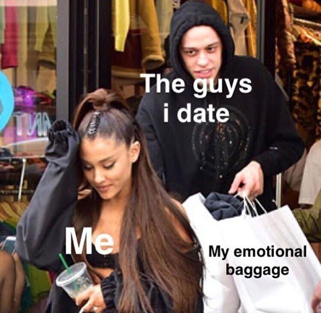 my emotional baggage is designer (@alibaby90)- - - - - #arianapete #emotionalbaggage #boyfriendsofinstagram #celebritycouples #celebritymemes #arianamemes #whoregasmic