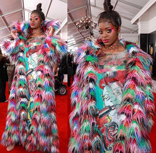 Grammys 2019 • What an honor to have the talented @tierrawhack wear my original artwork down the @recordingacademy red carpet last night, in this amazing @nancyvolpeberinger creation💥! Nancy, you outdid yourself.