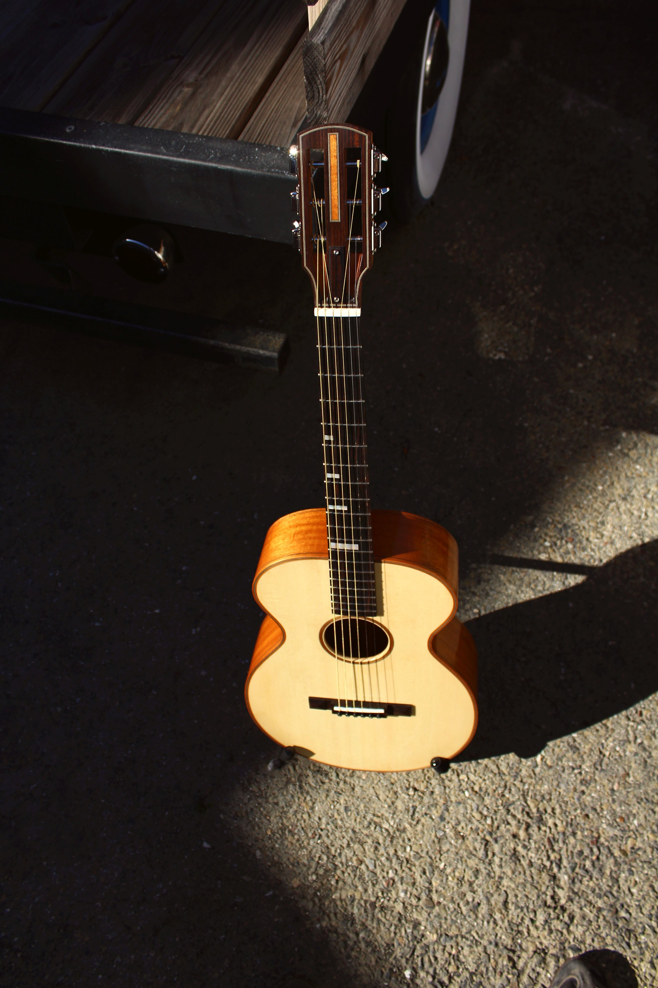mahogany guitar in sunlight