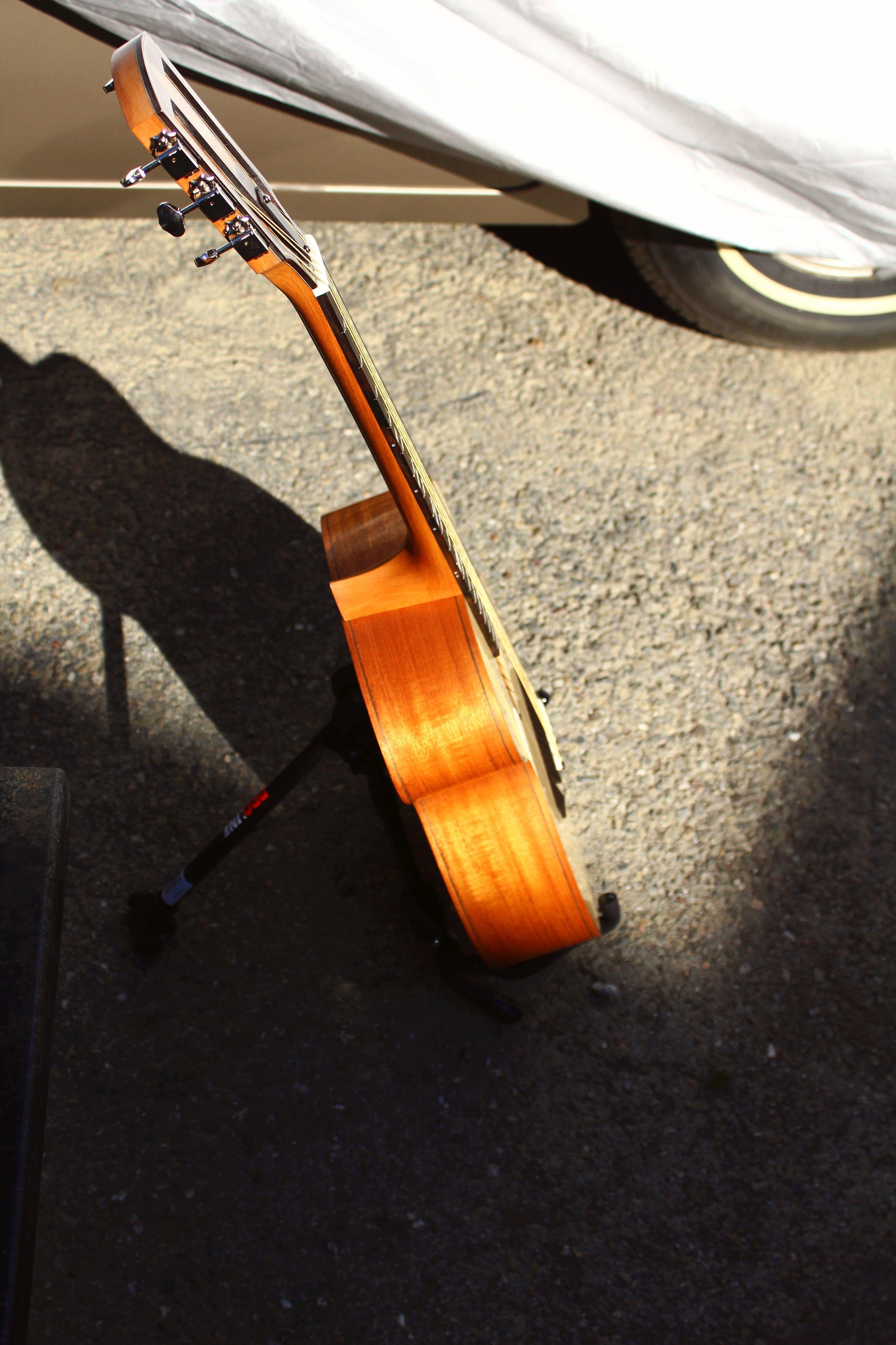 mahogany guitar in profile