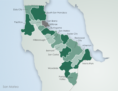 The cities within San Mateo County, California.