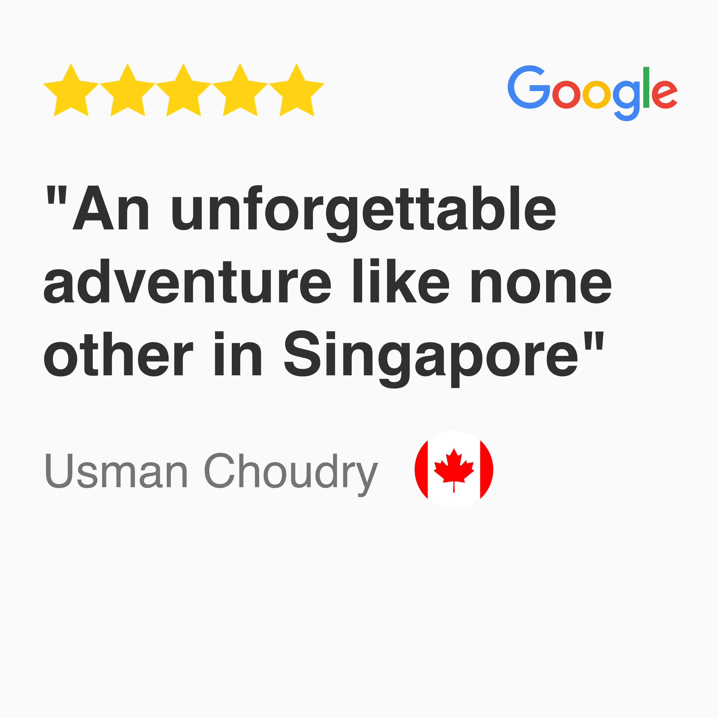Google review for kayak fishing Singapore tour 'Mangrove Maze': an unforgettable adventure like none other in Singapore