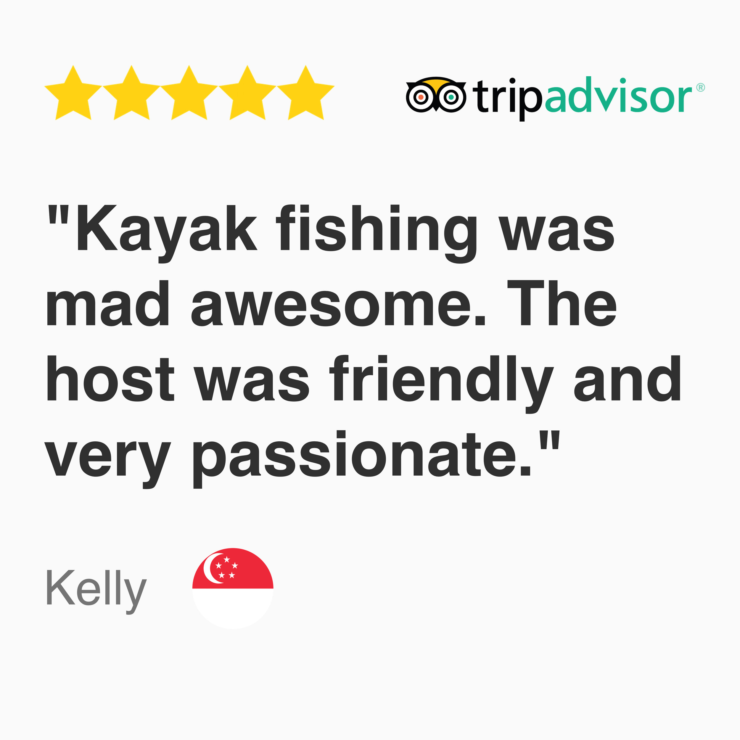 5 star Google Review for kayak fishing 'island hopper' tour: Kayak fishing was mad awesome. The host was friendly and very passionate