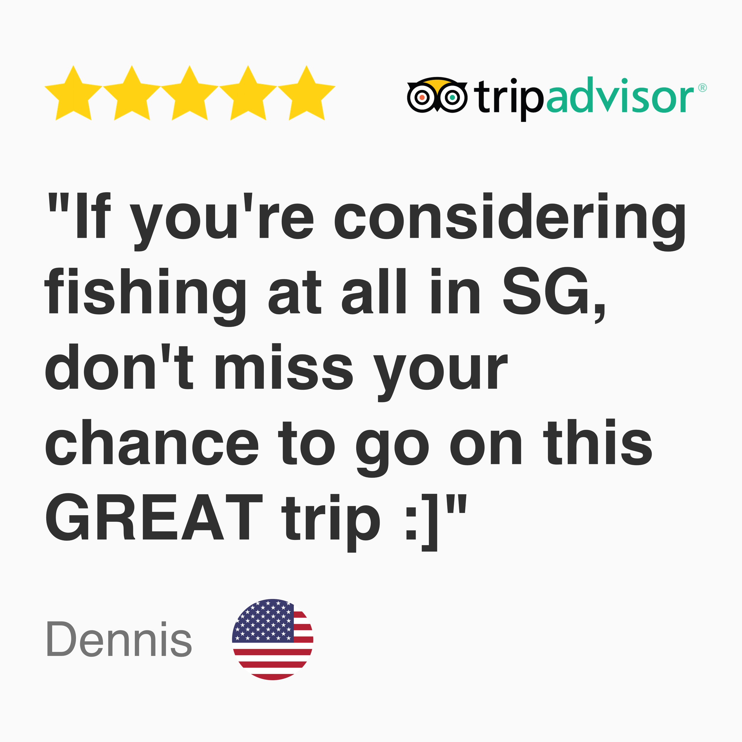 5 star tripadvisor Review for Kayak fishing Singapore tour