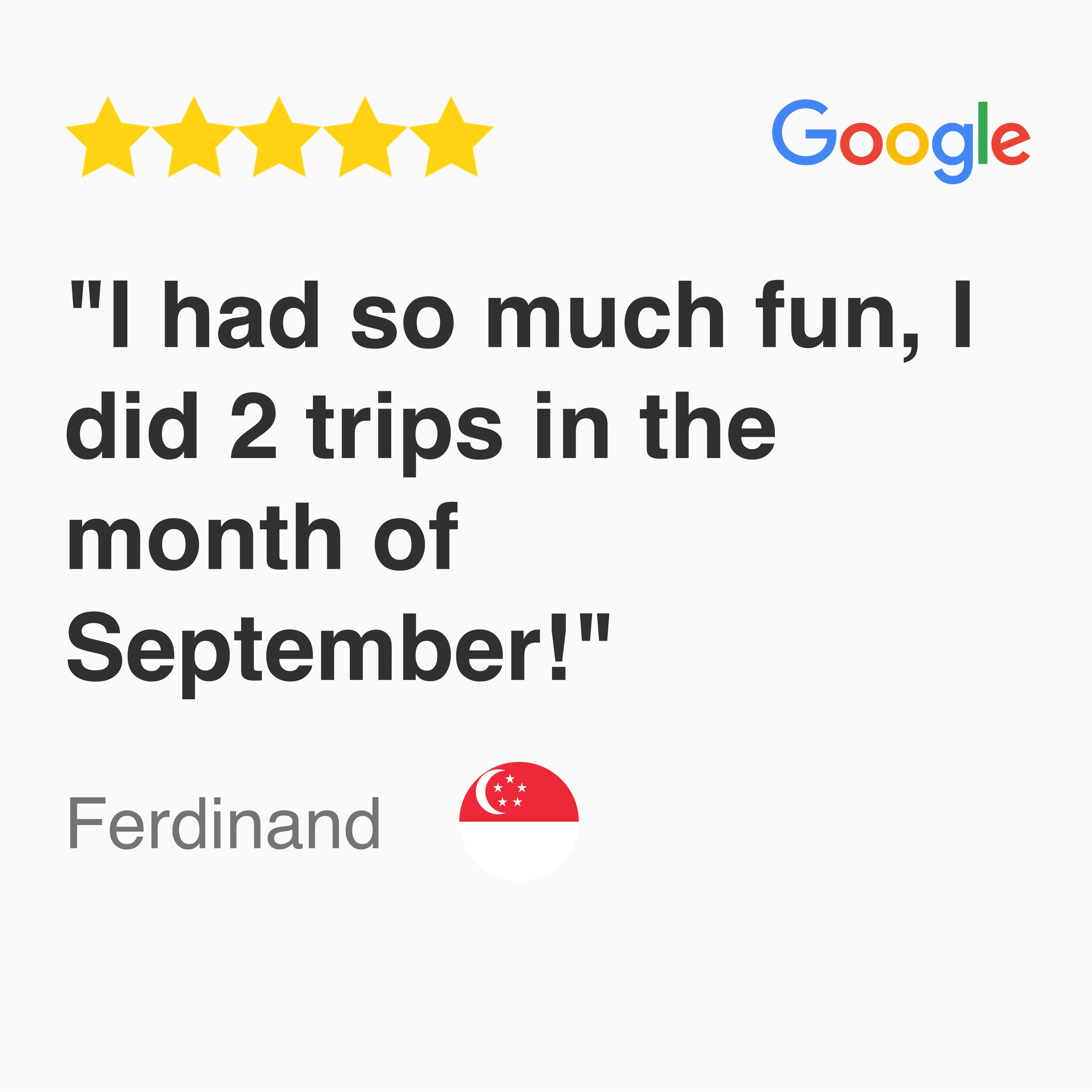 5 star google review for kayak fishing singapore tour, I had so much fun, I did 2 trips in the month of September!