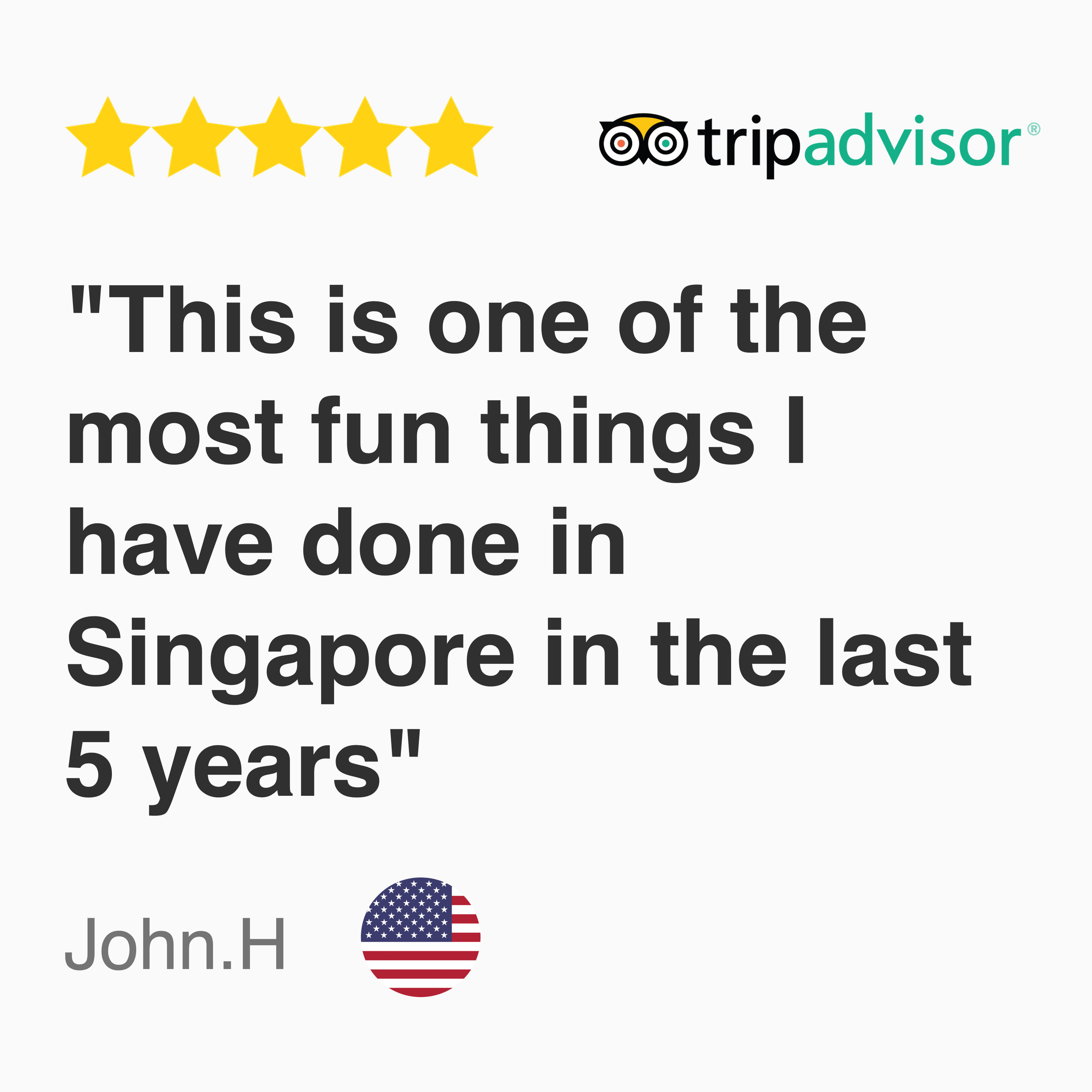 "5 stars tripadvisor review for the playground kayak fishing trip in Singapore , ""This is one of the most fun things I have done in Singapore in the last 5 years"""