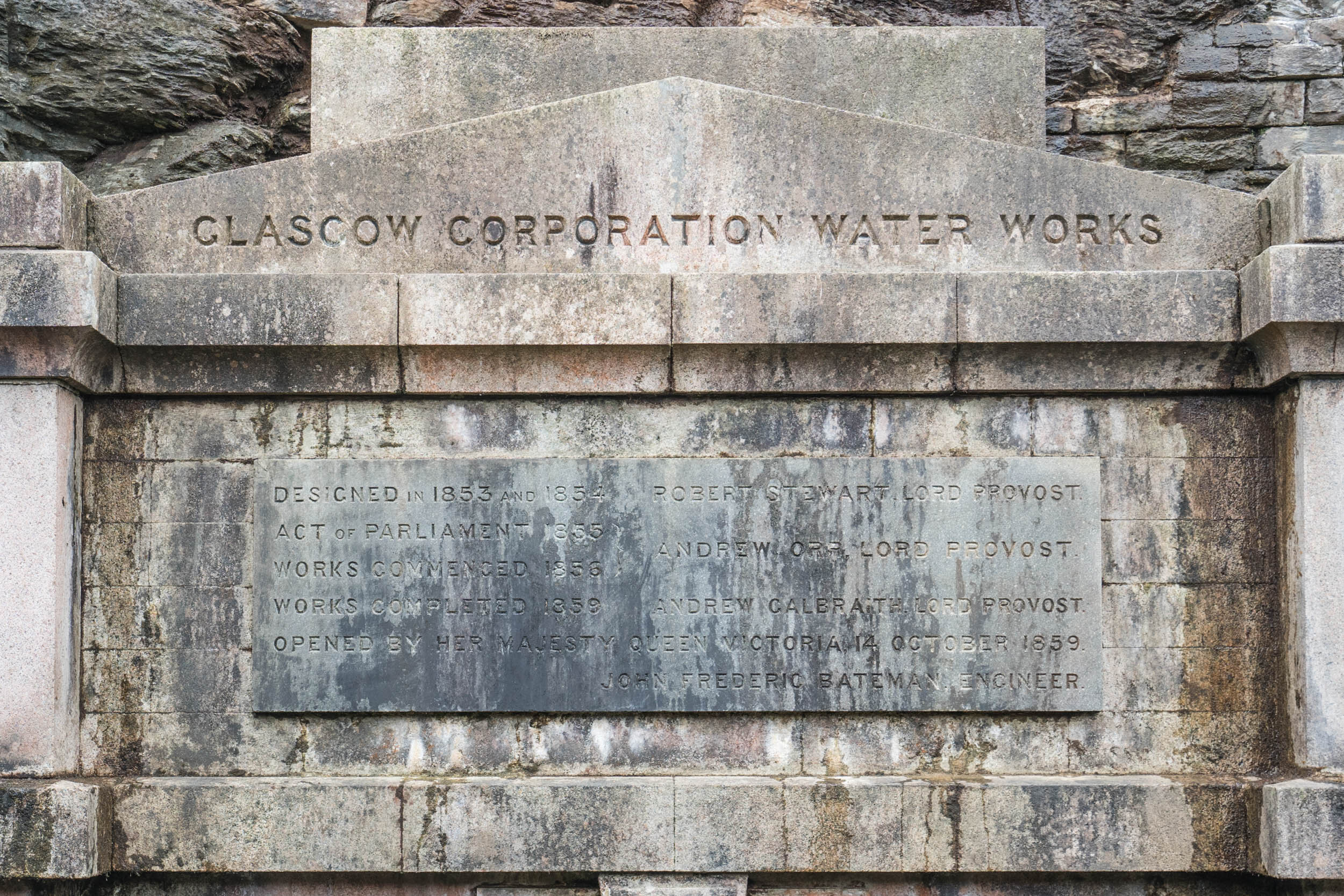 Commemoration Stone, unveiled by Queen Victoria 1860.